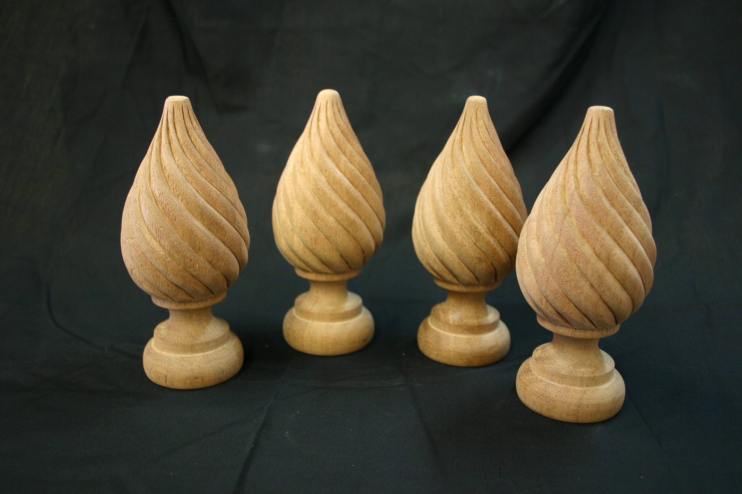Spiral tear drop wooden finial