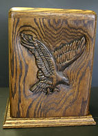 hand carved eagle funeral urn by Houle s Custom Woodcarving , carved funeral urns, carved cremation urns, hand carved funeal urns, hand carved cremation urns