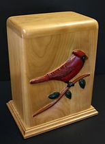 Cardinal funeral urn, creamation urn, wooden urns,houle custom woodcarving,wooden urns,carved funeral urns