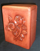 Hand carved Rose cremation urn in cherry wood