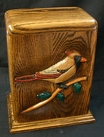 Female Cardinal cremation urn