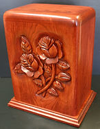 classic rose funeral urn, carved funeral urn,creamation urn,wooden urn,houles custom woodcarving