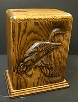 Mallard funeral urn ,carved funeral urns,wooden urns,houles custom woodcarving