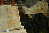 custom carved pine corbel,acanthus leaf corbel,wooden corbel,houles custom woodcarving
