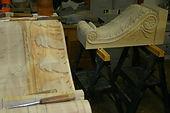 custom carved pine corbel,acanthus leaf corbel,wooden corbel,houles custom woodcarving