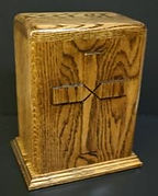 hand carved cross funeral urn by houles custom woodcarving , carved wooden urns,hand carved cremation urn,hand carved funeral urn in oak