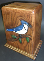 carved bluejay cremation urn 200 cu in 10.5 h 6.25 w 8.25 across