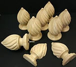 custom carved spiral finials,wooden finials,maple finials,carved finials,custom carved finials,tear drop finials, houles custom woodcarving