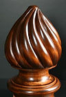 spiral finial,tear drop finial, hand carved finial, oak finial,hand carved finials