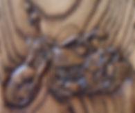 close up of Harley Davison motorcycle cremation urn
