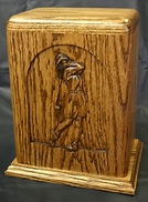 Lady golfer urn,golfer urn,wooden golfer urn,wooden golfer cremation urn,carved golfer urn,carved wooden golfer urn,carved funeral urn,carved wooden urn,houles custom woodcarving