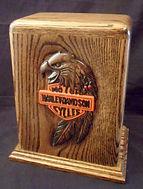 Carved Eagle Harley Davidson Funeral Urn