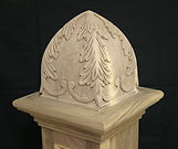 Bell top finial ,hand carved acanthus leaf  shown in walnut wood