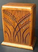Wheat funeral urn , hand carved urns , creamation urn, carved funeral urns,houle s custom woodcarving