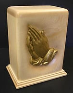 praying hands urn, praying hands in maple wood, carved funeral urns , houle s custom woodcarving,creamation urns