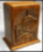 Fisherman carved wooden funeral urn , shown in oak wood available in most hardwoods