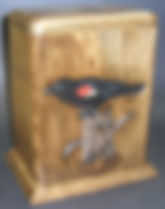 carved red winged black bird cremation urn, wooden urns,cremation urns,funeral urns