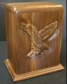 Eagle funeral urn, creamation urn,funeral urns,carved urns, carved funeral urns, houle s custom woodcarving