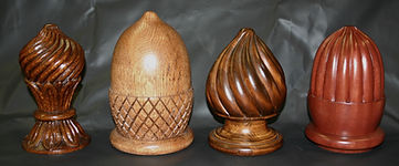 Carved finials,wooden finials,hand carved finials,acorn finials,acanthus leaf finial,artichoke finial, spiral finial,Houle s custom woodcarving
