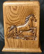 Horse funeral urn,horse urn,horse cremation urn, wooden urn,oak urn,wooden cremation urn, houles custom woodcarving,carved funeral urn,hand carved urn,