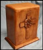 Poppy in cross funeral urn , carved in cherry wood with mahogany stain