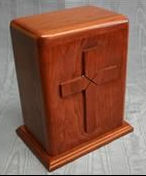 Hand carved Cross cherry wood funeral urn by Houles custom Woodcarving, hand carved funeral urns, hand carved cremation urns