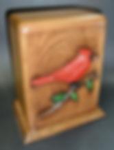 Red cardinal cremation urn , carved funeral urn,wooden cremation urn