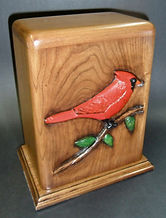 Red cardinal cremation urn , carved funeral urn,wooden cremation urn