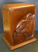 mallard funeral urn,mallard urn,mallard cremation urn,wooden mallard urn,wooden urn,wooden cremation urn,houles custom woodcarving,cherry mallard urn,cherry urn