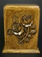 hand carved classic rose funeral urn, by Houles Custom Woodcarving , hand carved funeral urns, hand carved cremation urn