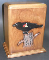 carved red winged black bird cremation urn,wooden urns,carved cremation urn