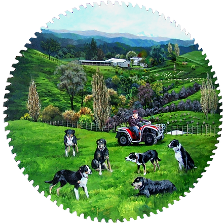 Farmer and Dogs by Julie Oliver