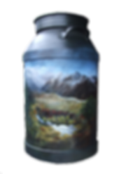 New Zealand Scene on Creme Can by Julie Oliver