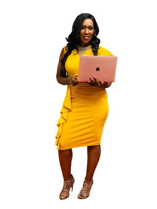 Delayna Houston Holding Laptop Transpare