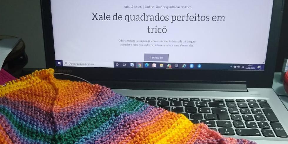 Xale de quadrados perfeitos em tricô