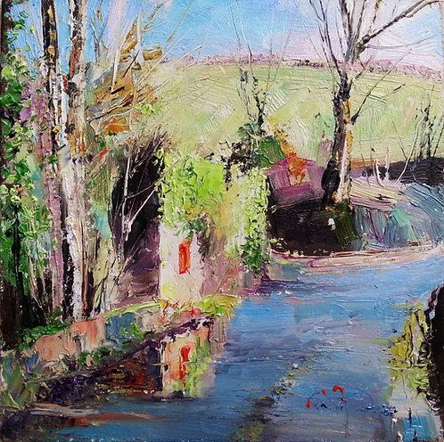 RUIN AT BOW BRIDGE Study Painting