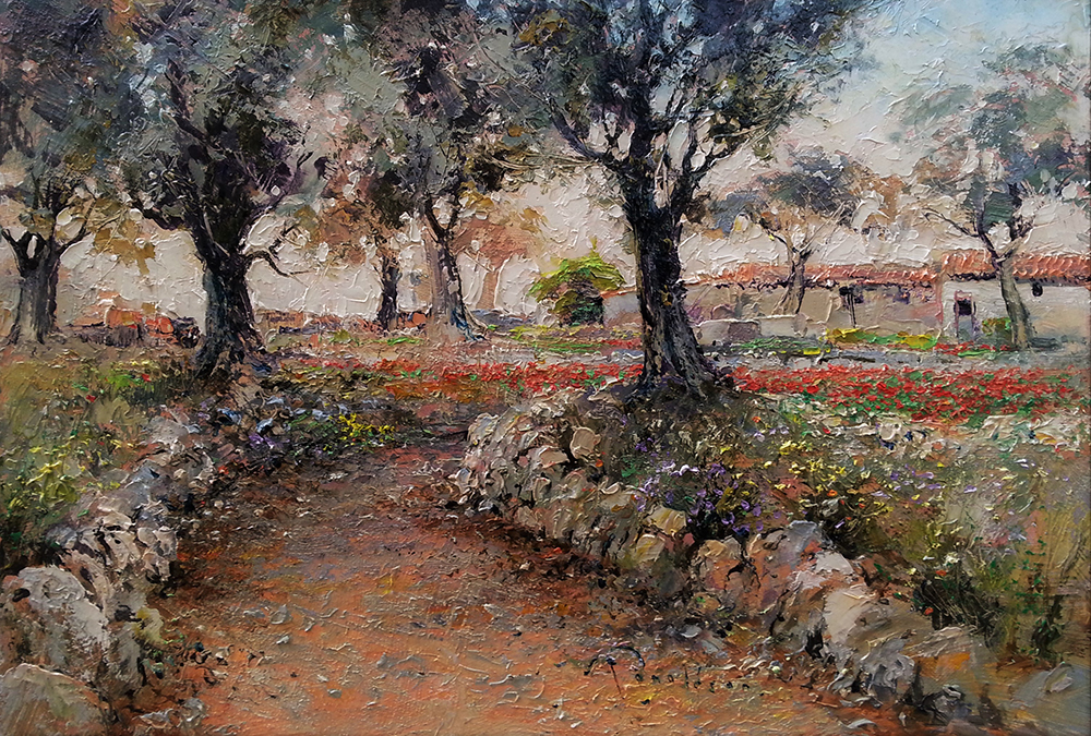 The Olive Walk At Dawn Painting