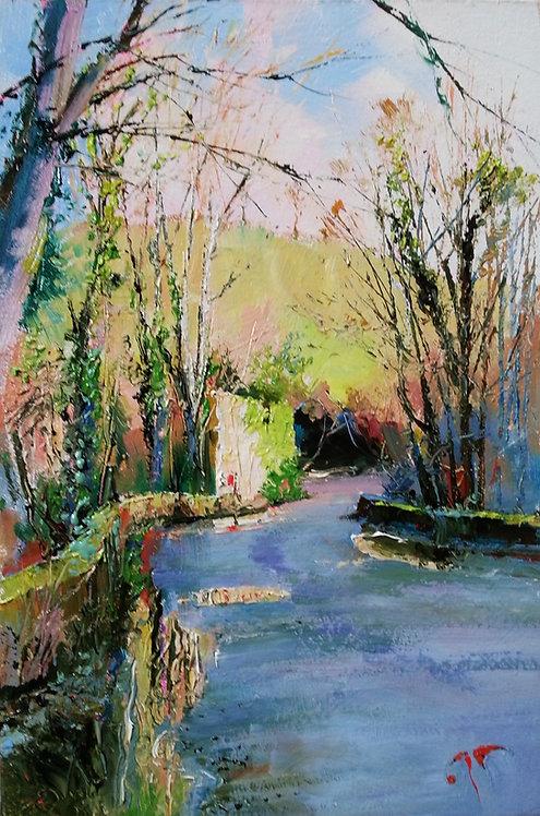 BOW BRIDGE MILD WINTER Study Painting