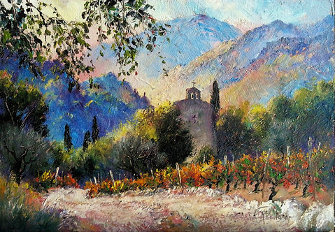 A CHURCH IN THE HILLS Painting