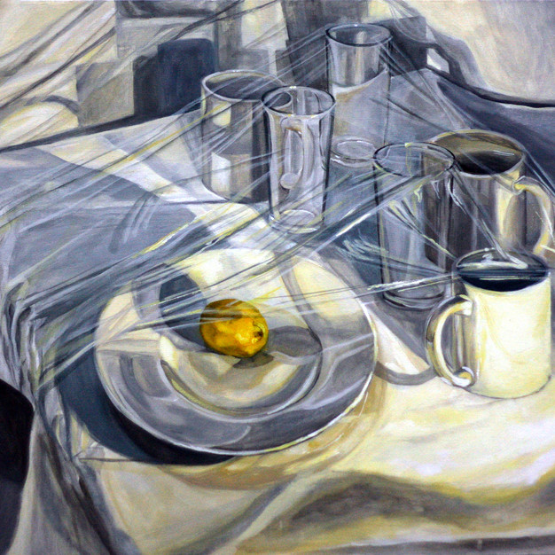 Composition in grey and yellow