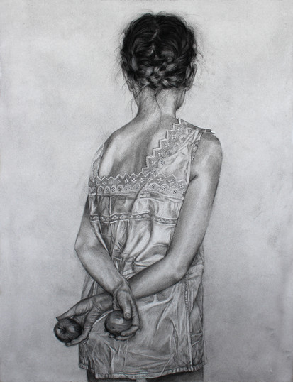 I weave silence in my hair; 76x56cm, charcoal on paper Zuzanna Salamon.JPG