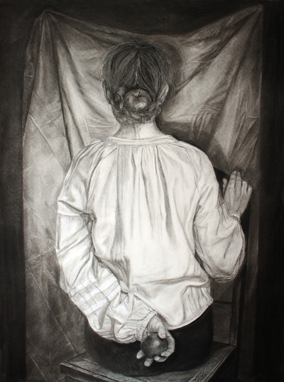 I've been looking for someone to share my light; Zuzanna Salamon, charcoal on paper, 90x26