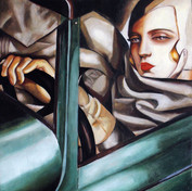 """Copy of the painting by Tamara Łępicka """"The self-portrait in the Green Bugatti"""""""