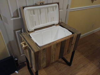 Reclaimed rustic ice chest.