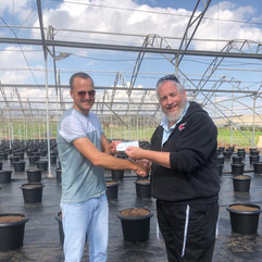 A check to plant 1,050 blueberry trees on Moshav Hamra in the Jordan Valley!