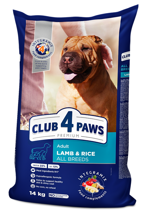 CLUB 4 PAWS Premium Lamb and rice for adult dogs of all breeds