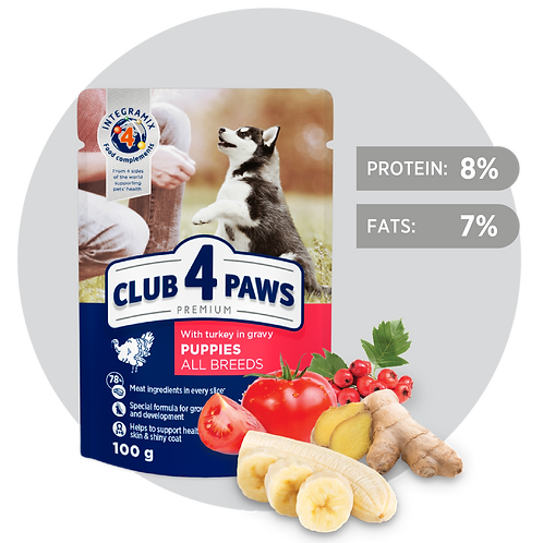 CLUB 4 PAWS Premium for Puppies - Turkey in sauce - 100g