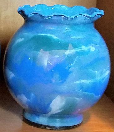 Blues, Green & Pink Marbled Vase