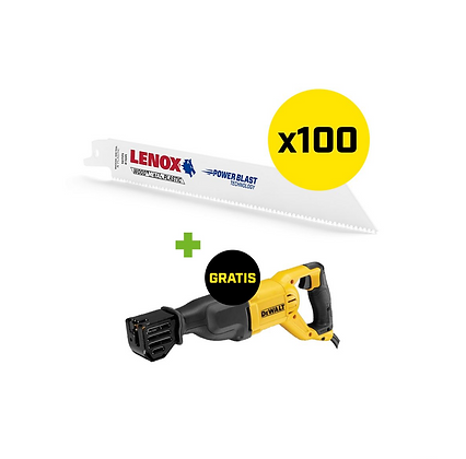 Set 100 Lenox zaagbladen (Fe,Al) met GRATIS DWE305PK-QS