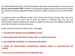 PLAN DE COMMUNICATION DU CDT DESTINATION GERS 2021